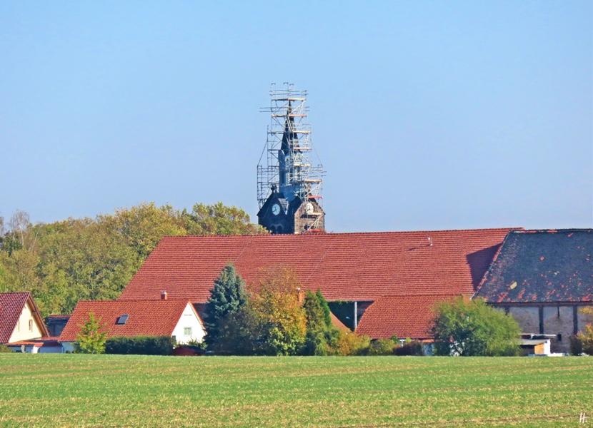 2018-10-14 Rast zw. Oppin + Niemberg (Sachsen-Anhalt) (3) Niemberg - Niemberg: Turm der Kirche St. Ursula, eingerüstet